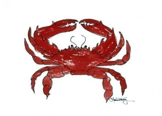 Red Crab Watercolor Print by lauratrevey on Etsy, $18.00 9x12