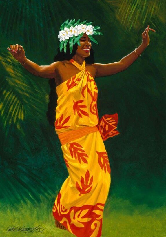 Hula Dancer, painting by Herb Kawainui Kāne.
