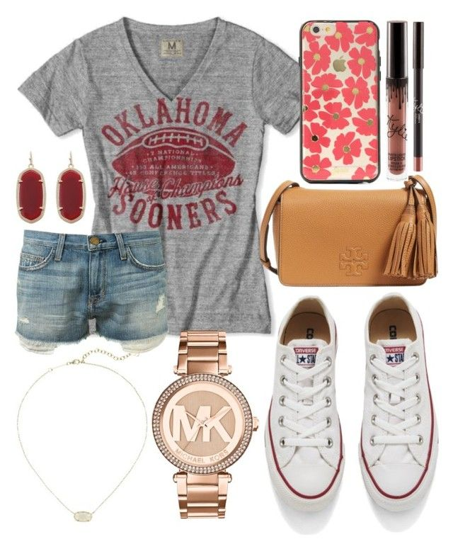 """""""BOOMER Sooner!!!❤️"""" by jadenriley21 on Polyvore featuring Current/Elliott, Converse, Kendra Scott, Tory Burch, Sonix and MICHAEL Michael Kors"""