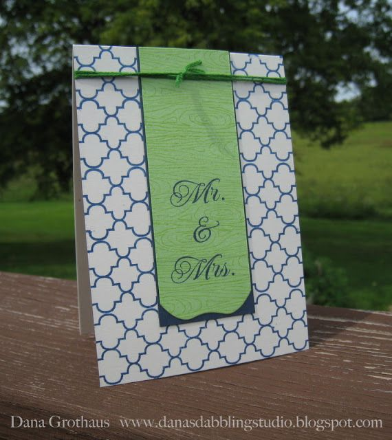Celebrate the new Mr. and Mrs. with this unique handmade wedding card that uses calming, cool colors instead of the traditional red, white and black.