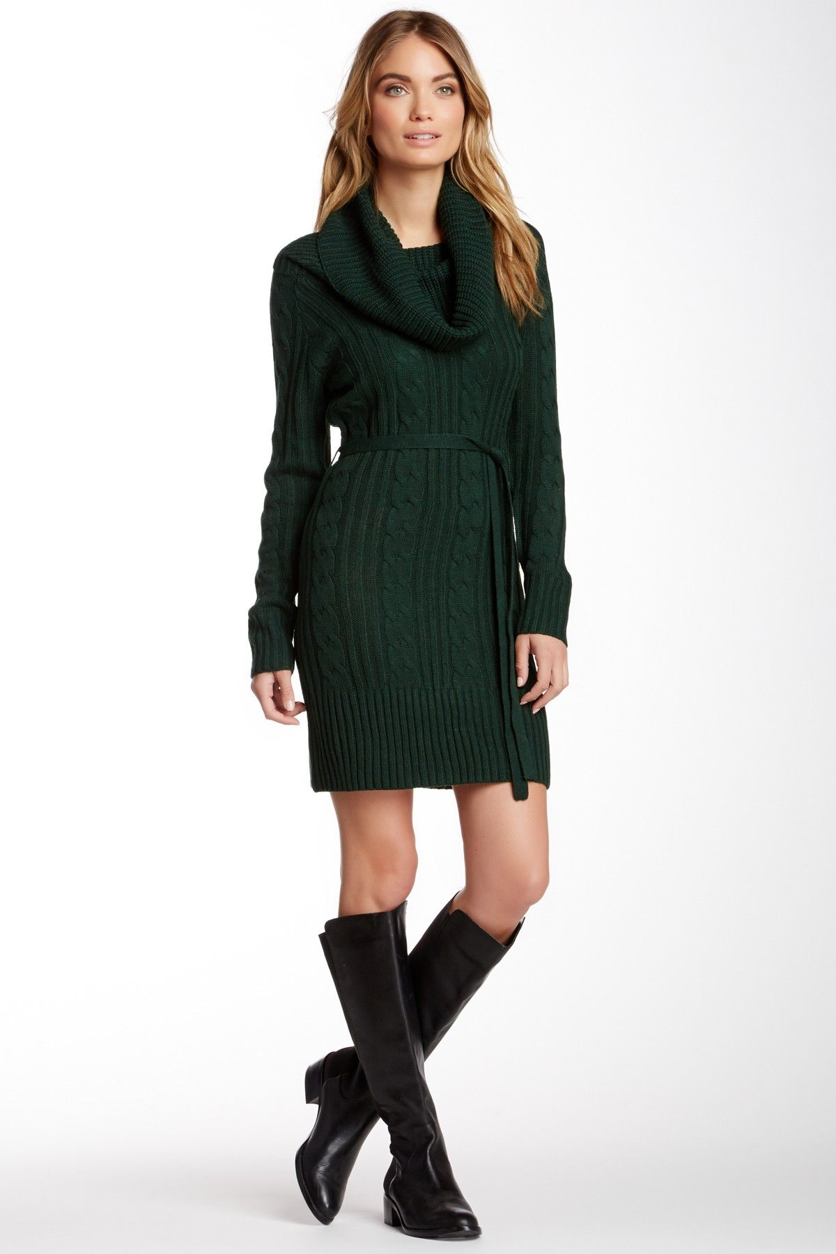 Jessica Simpson | Cowl Neck Sweater Dress | Cable knit sweater ...