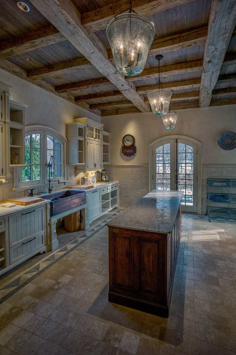 Reclaimed Wood Beams And Ceiling Boards In A Butler S Pantry Greenwich Ct