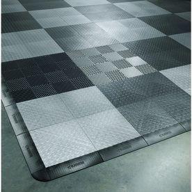 Gladiator 48 Piece 12 In X 12 In Silver Tread Plate Garage Floor Tile Lowes Com In 2020 Garage Floor Tiles Tile Floor Garage Floor