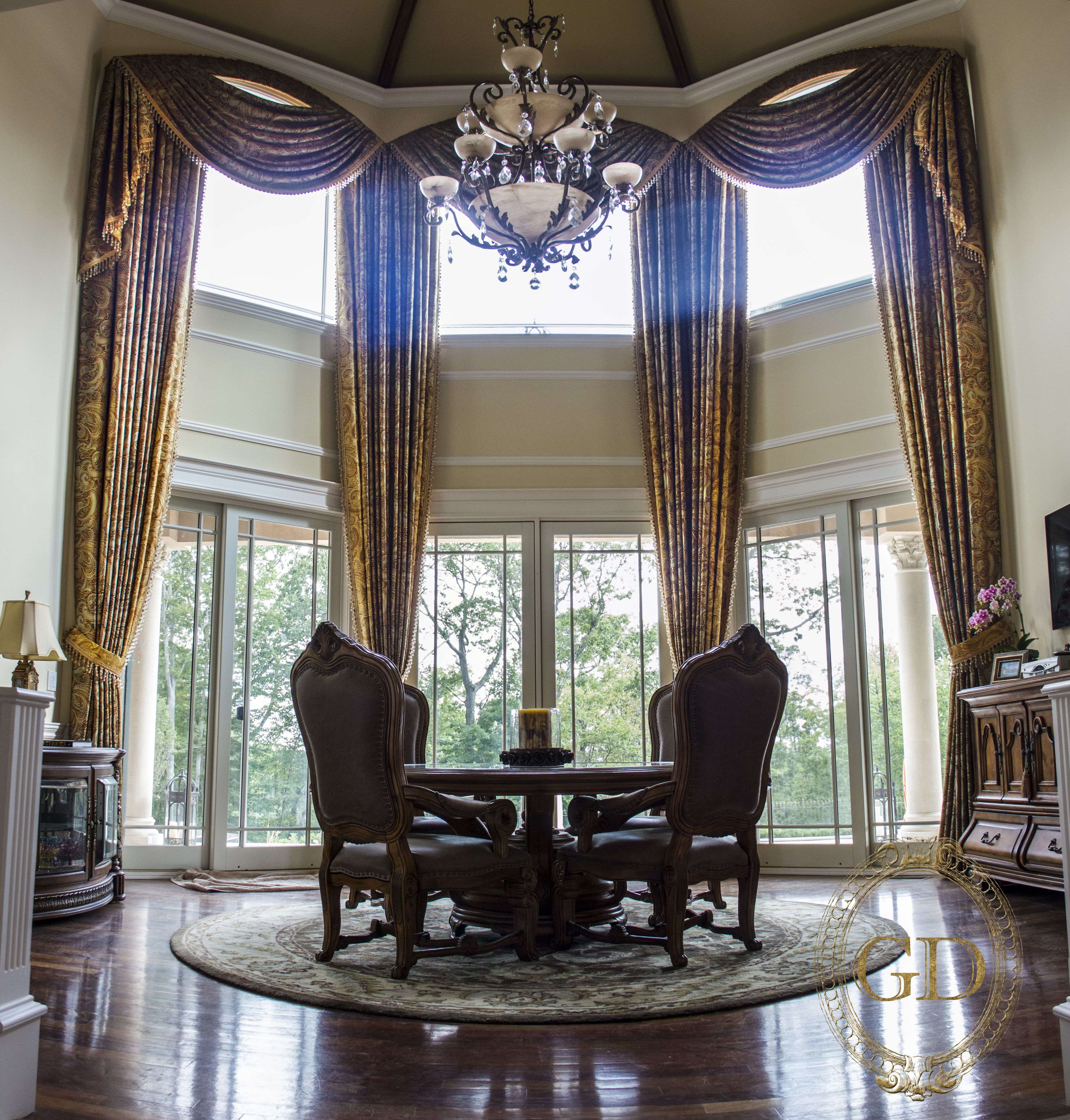 Window Treatments Charming And Spacious Living Room Design With High On The Ceiling Gold Curtains Arched Curtain Rods Dark Brown Wood