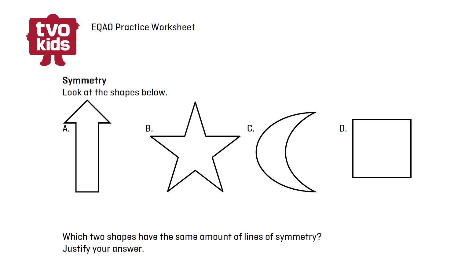 Workbooks symmetry worksheets for high school : EQAO Math worksheet - Symmetry for Grade 6 Download here: http ...