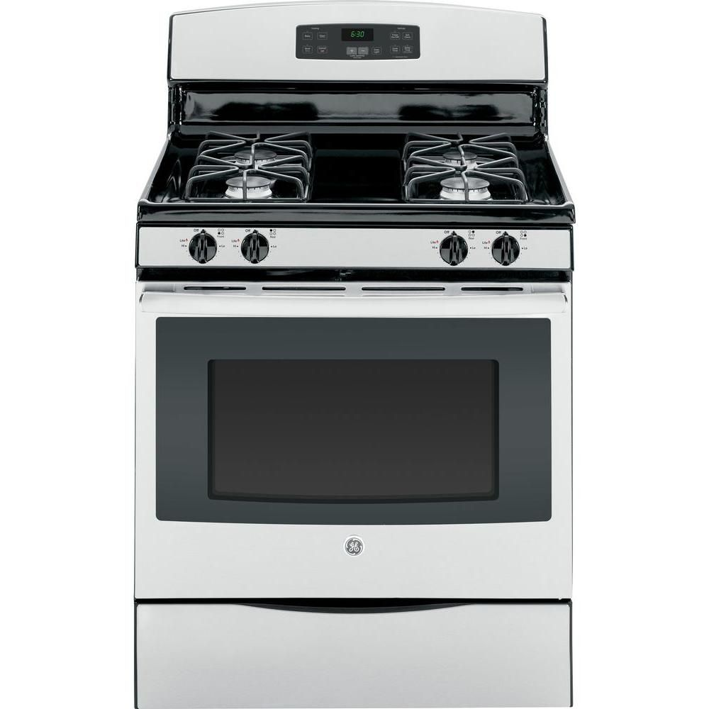 Ge 5 0 Cu Ft Gas Range With Self Cleaning Oven In Stainless Steel Jgb630refss Gas Range Self Cleaning Ovens Free Standing Gas