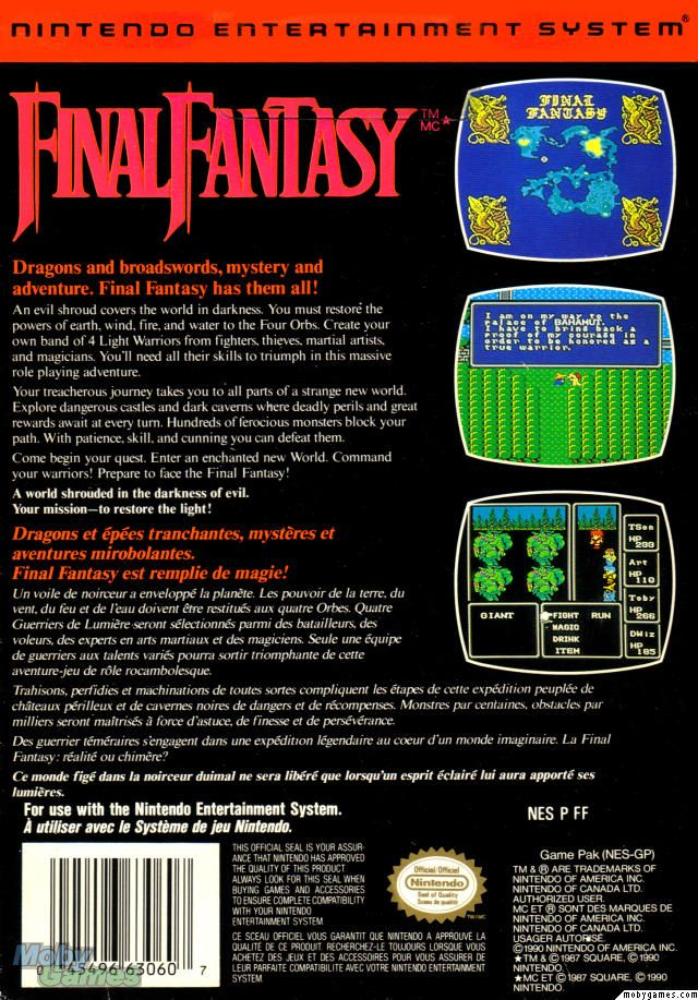 Final Fantasy NES Back Cover | Video Game Boxes | Final fantasy nes