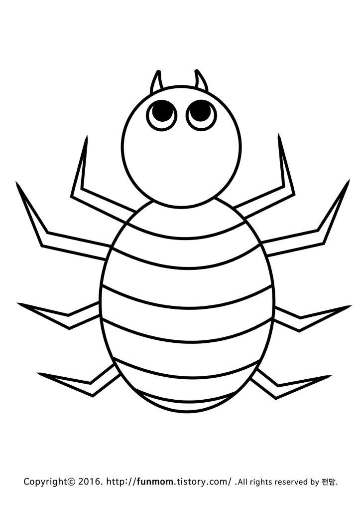 줄무늬 거미 색칠공부 학습지 거미 공룡 색칠 공부 동물