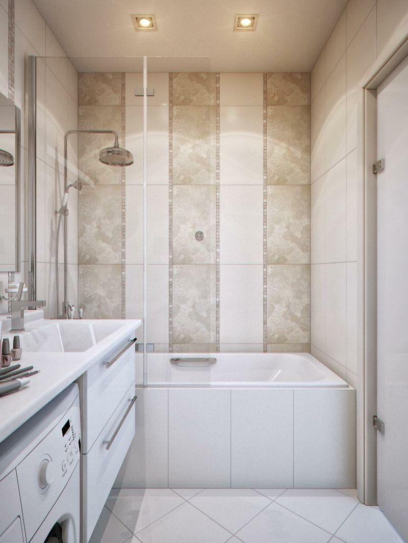 kleine bäder fliesen streifen beige weiss badewanne dusche ...