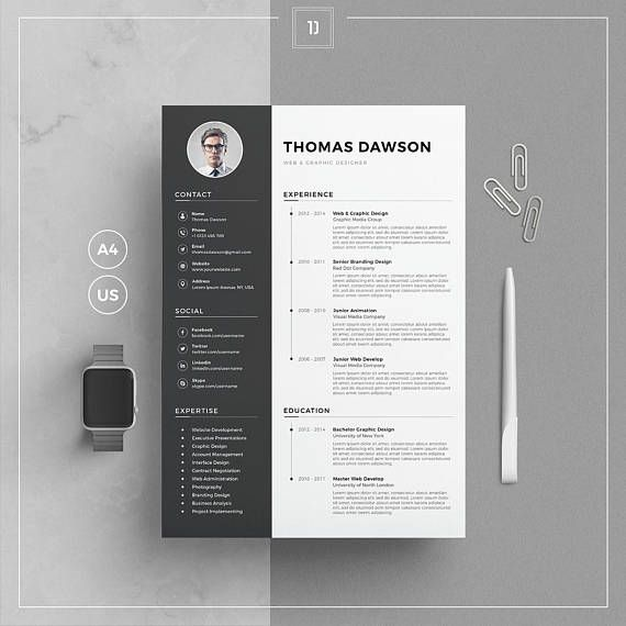 Modern resume template cover letter business card for word modern resume template cover letter business card for word resume template with photo two page resume instant download td resume reheart Gallery