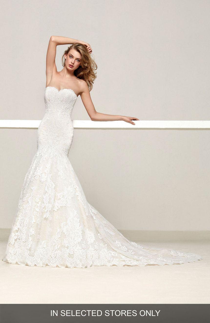Nordstrom wedding dress  Pronovias Druida Sweetheart Strapless Lace Mermaid Gown  Nordstrom