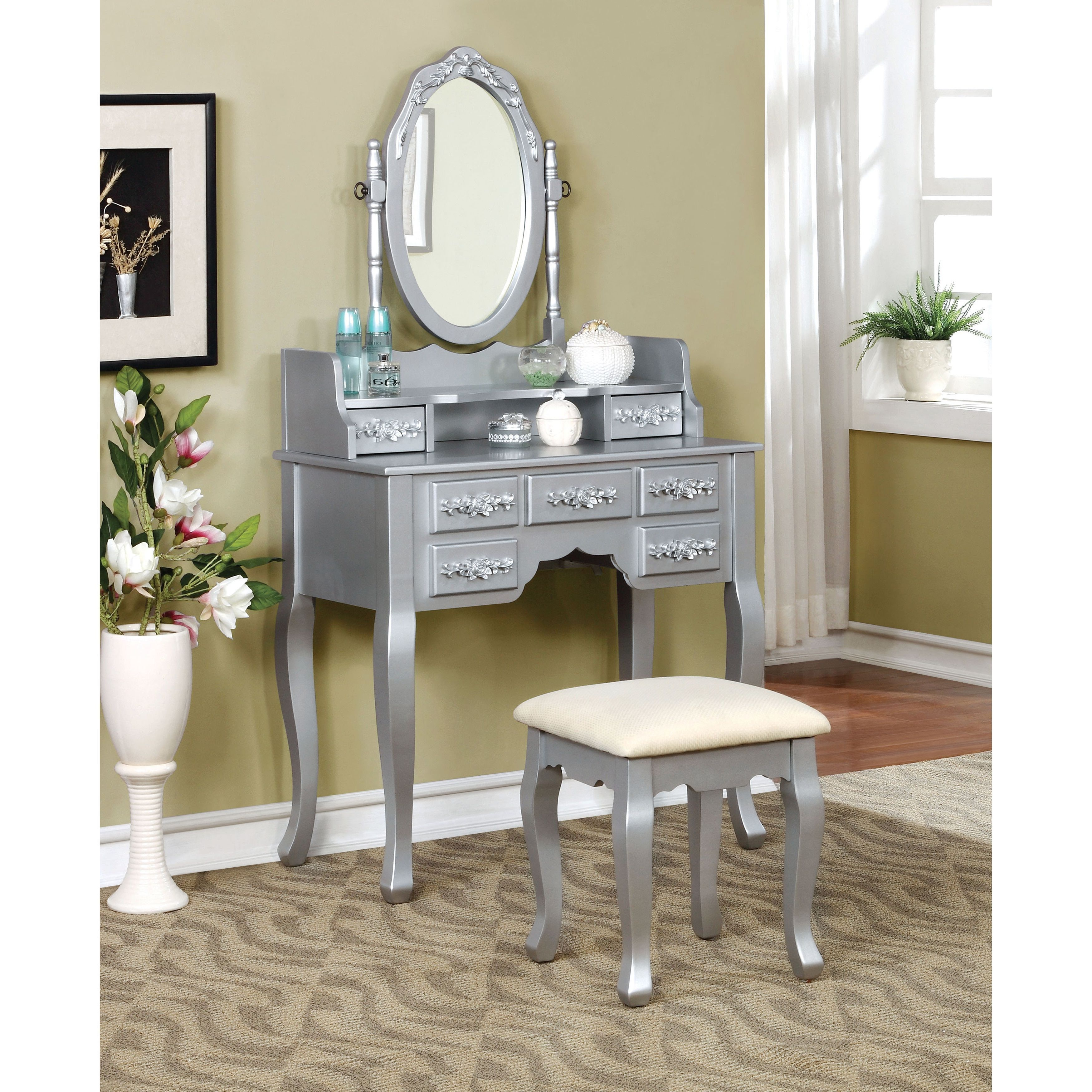 Furniture of america mayla elegant traditional piece vanity table