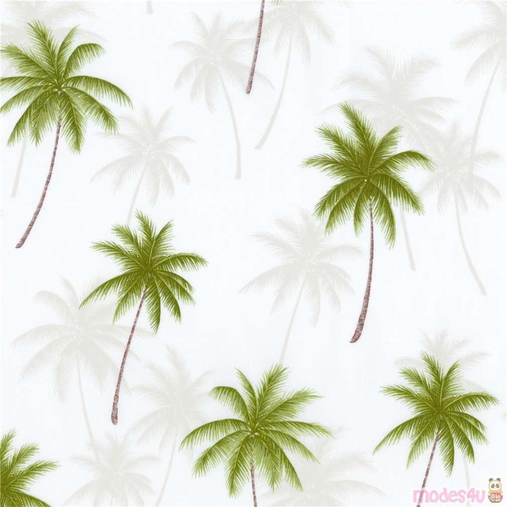 Palm Tree Robert Kaufman Fabric In White Robert Kaufman Fabric