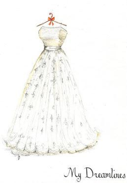 Wedding Dress Sketch-Paper Anniversary Gifts For Her, Wedding Gifts From Groom…