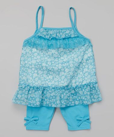Look what I found on #zulily! Blue Floral Tank & Side-Tie Leggings - Toddler by Baby Ziggles #zulilyfinds