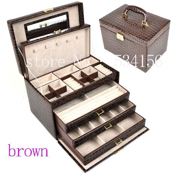 Hot Prices From Ali Luxurious 4 Layers Brown Leather Jewelry Box Earrings Display Wedding Gifts Gift 20 Cm For Only Usd