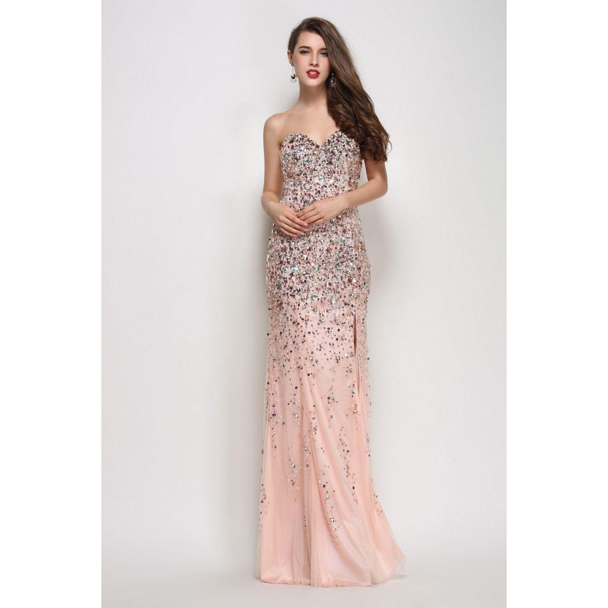 Pink Beaded Exclusive Mermaid Prom Dress Winter Formal Dress