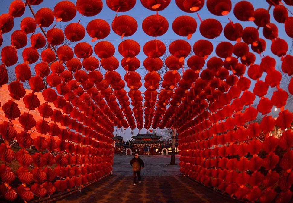 Red lanterns symbolize good fortune in the Chinese New