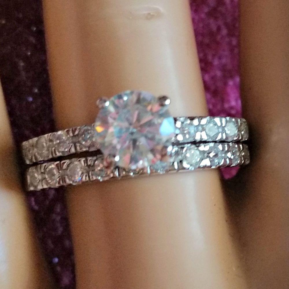 925 Sterling Silver Wedding Ring set size 8 Engagement CZ Bridal