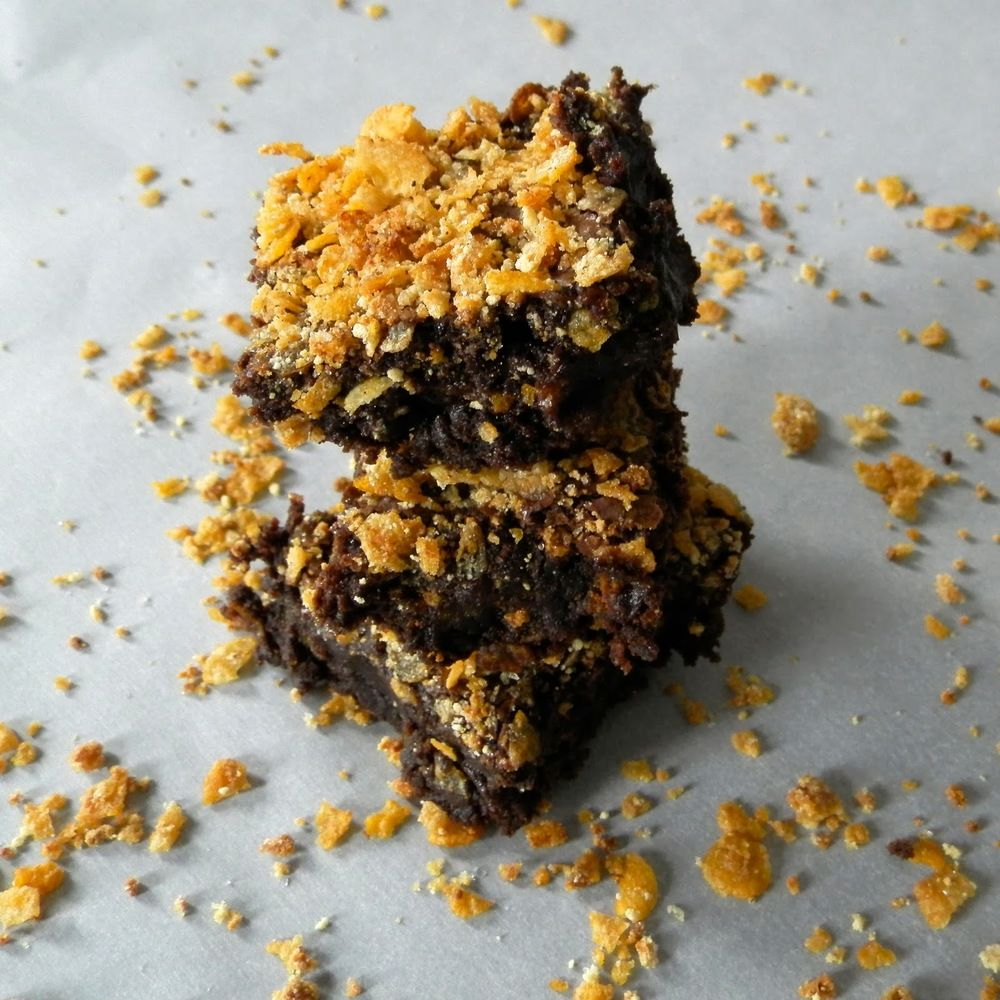 Cornflake Crunch Brownies fudgy brownies topped with