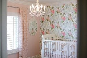 Pink Wallpapered Nursery I Hate Taking Down Wallpaper But It Looks So Cute