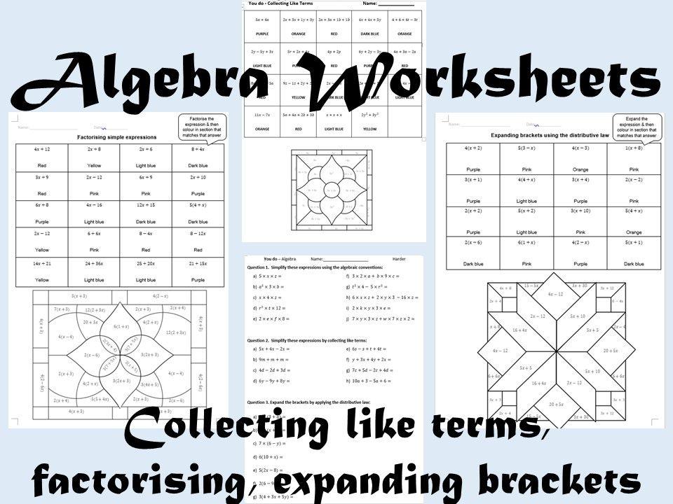 Algebra Colour by Number Bundle Algebra worksheets