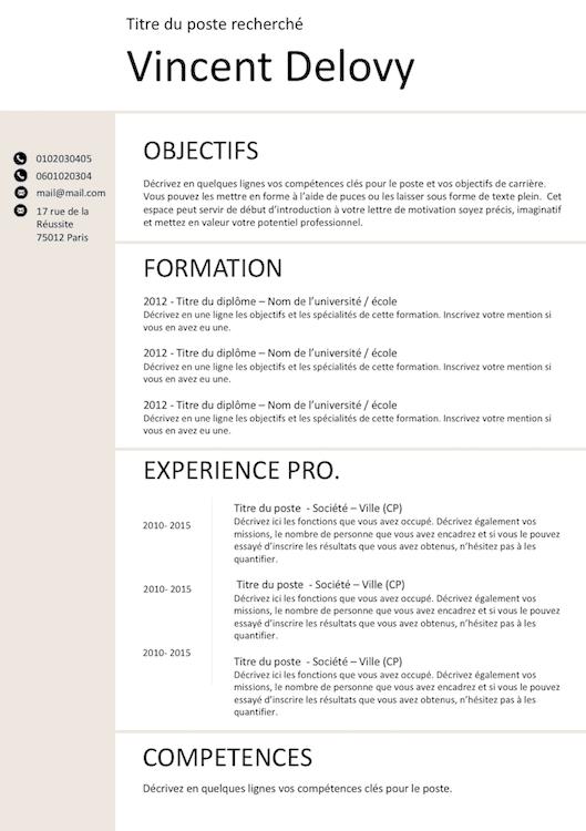 Cv Classico Exemple Cv Telecharger Cv Et Cv Classique