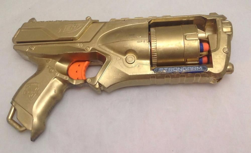 Nerf Gun, Strongarm, N-Strike Elite, Modified, Painted Gold, with
