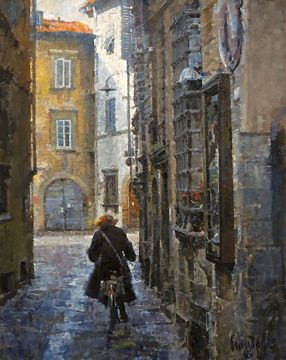 """Cyclist on a Narrow Street (Lucca) by James Crandall Oil ~ 30"""" x 24"""""""