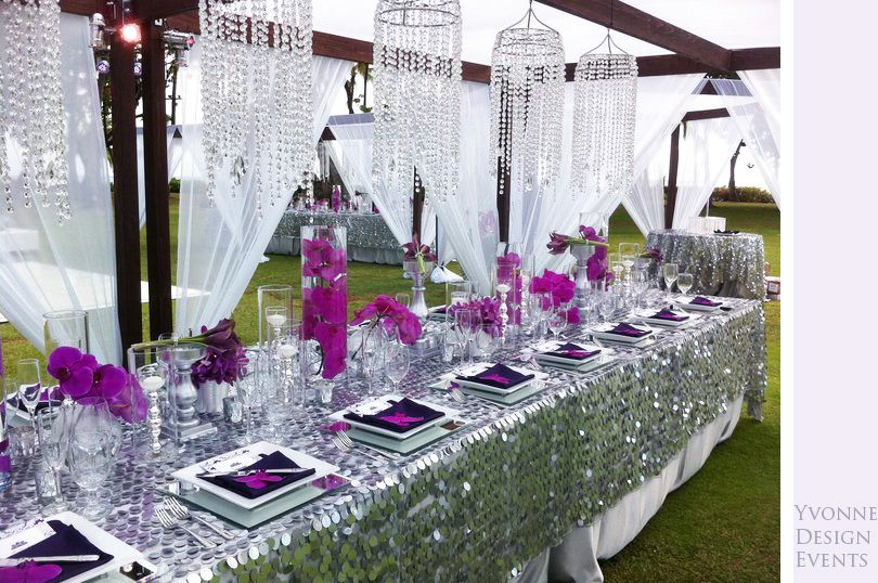 Silver Sequined Tablecloths 3 Styles Bling Crystal