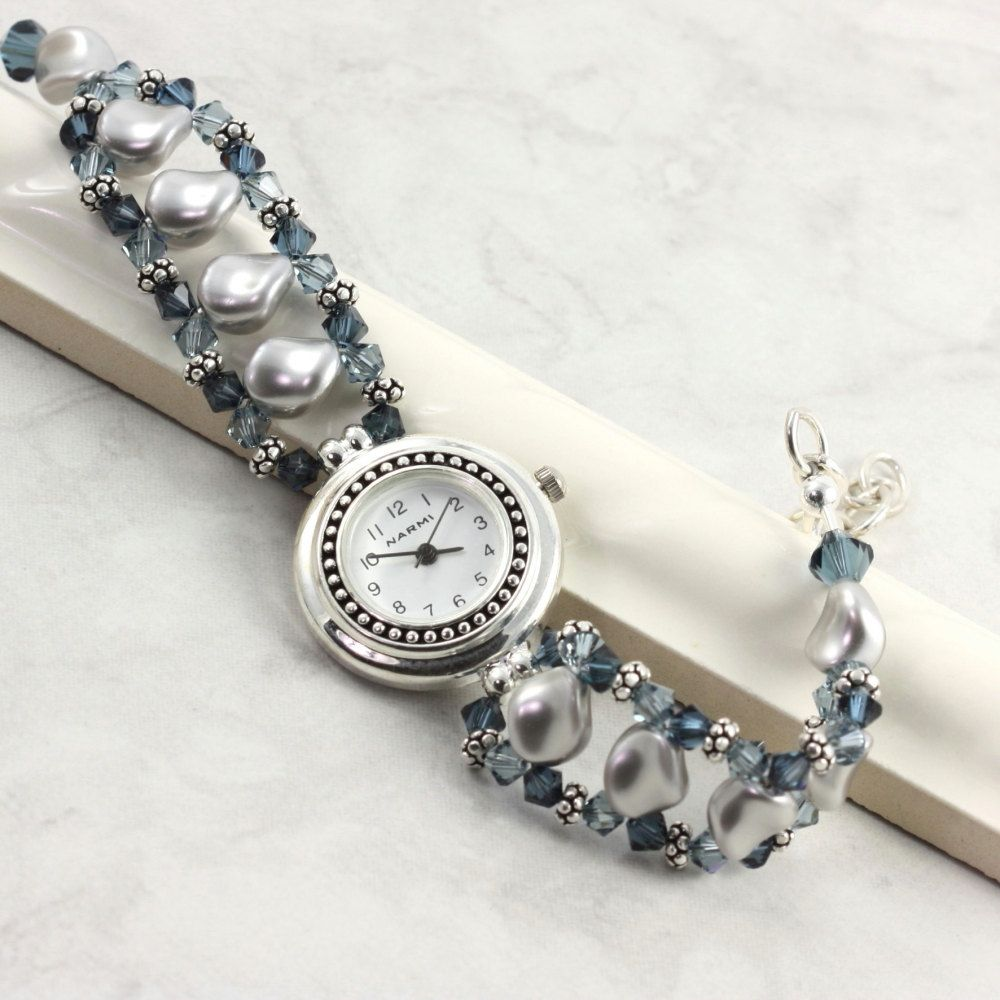 Pearl Beaded Watch Band Gray Blue Sapphire Crystal Bracelet