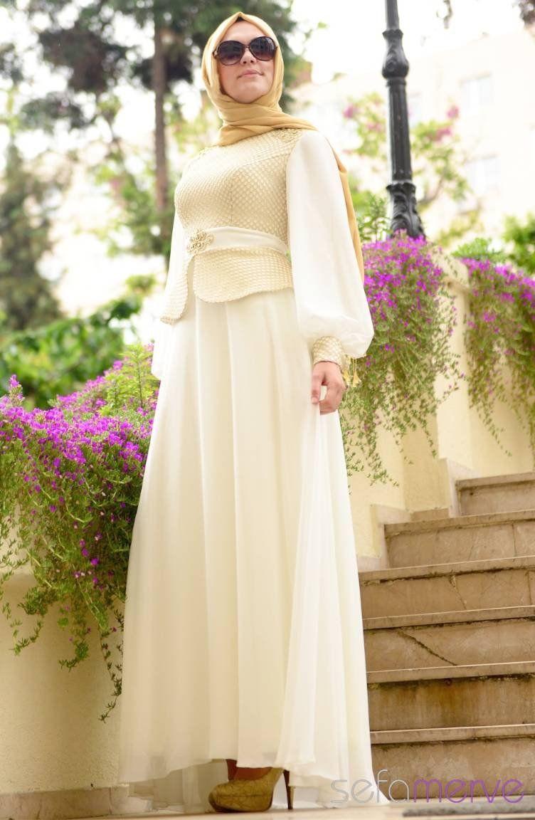 Sefamerve Abiye Elbiseler Pdy 4275 02 Krem Muslim Dress Fashion Islamic Fashion