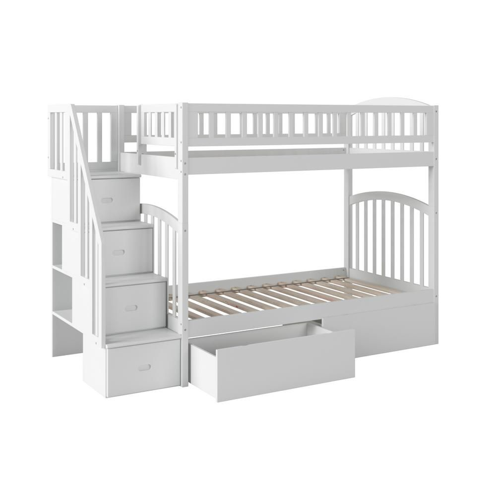 Atlantic Furniture Westbrook White Twin Over Twin Staircase Bunk With 2 Urban Bed Drawers Ab65642 Atlantic Furniture Bed With Drawers Staircase Bunk Bed