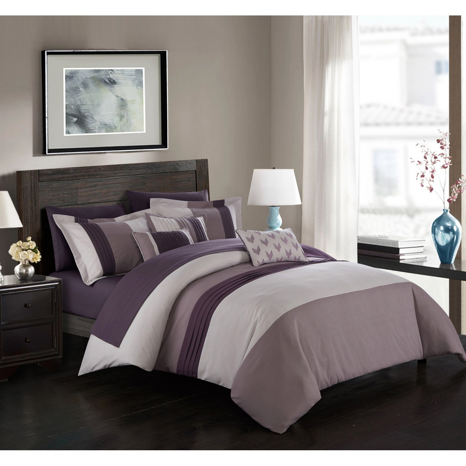858161430b77 Hester Bed in a Bag by Chic Home Plum. Hester Bed in a Bag by Chic Home  Plum Contemporary Dresses, Modern Comforter Sets,
