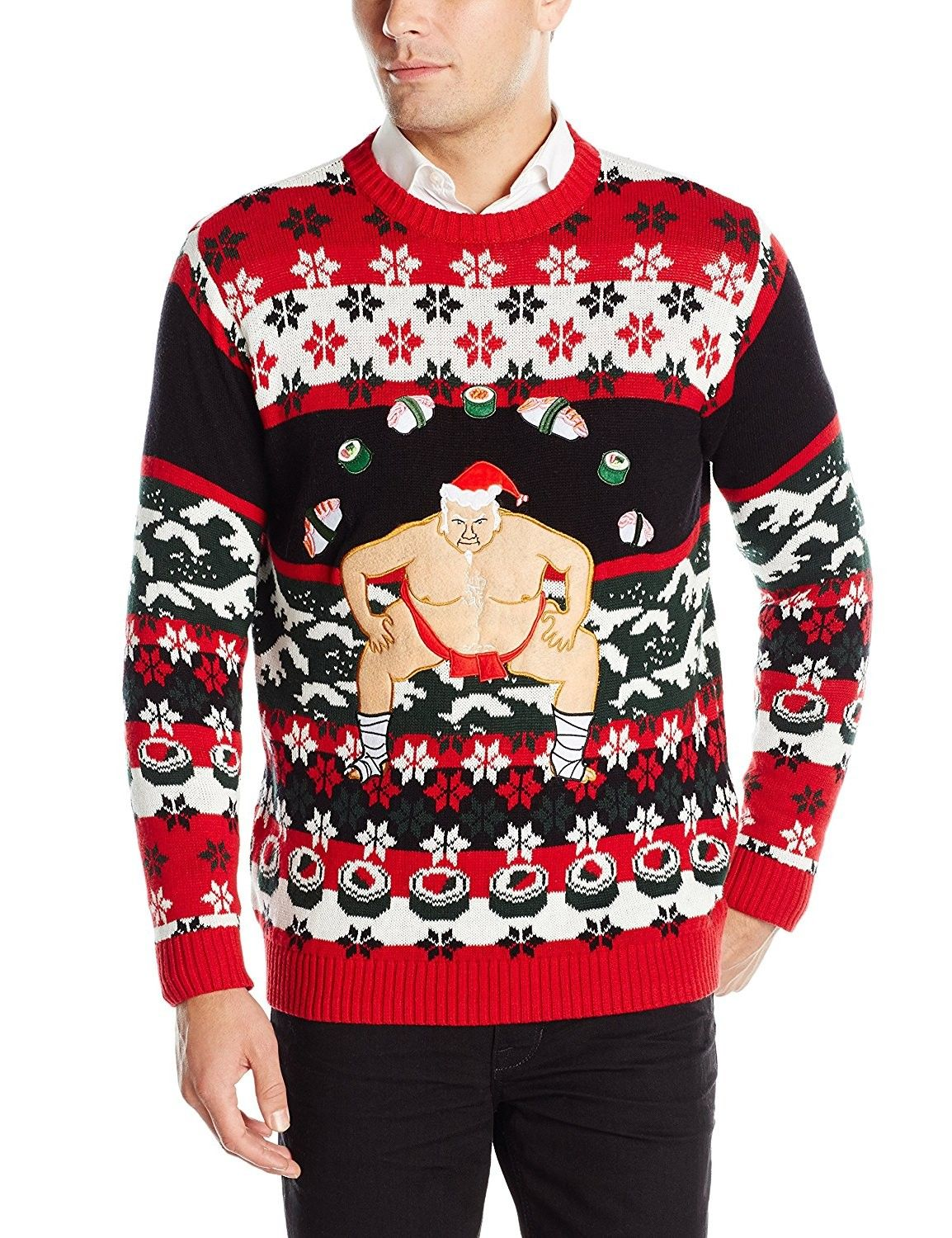 Blizzard Bay Mens Fluffy Christmas Chicken Ugly Christmas Sweater Sweater
