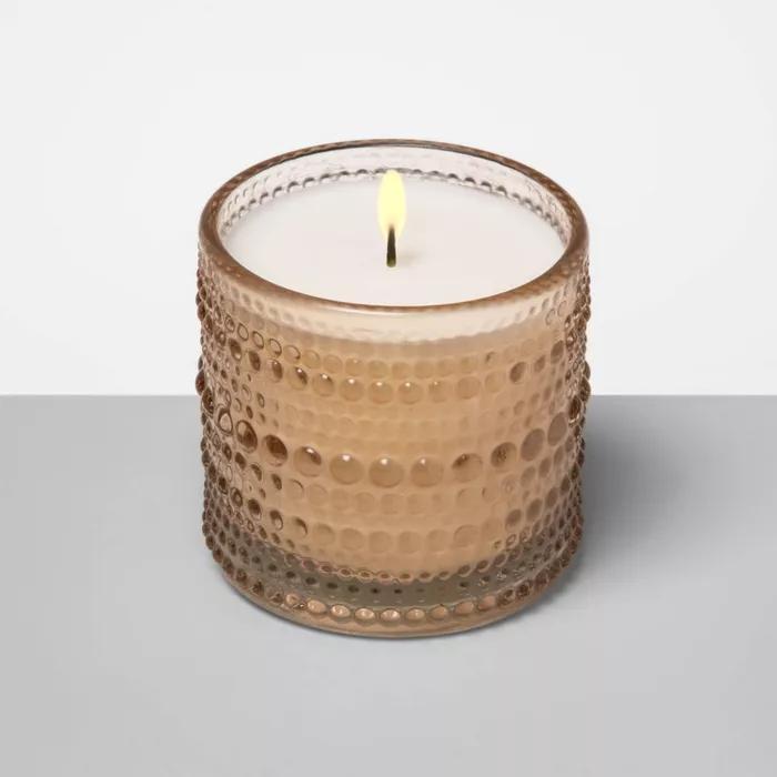 4 5oz Hobnail Textured Glass Jar Candle Mandarin Hibiscus Opalhouse Target Candle Jars Glass Jar Candles Glass Texture