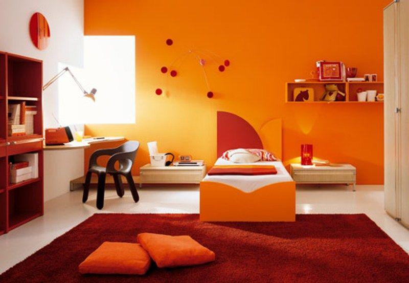 parete arancio   Ele   Pinterest   Stanze da letto bianche, Colore e ...