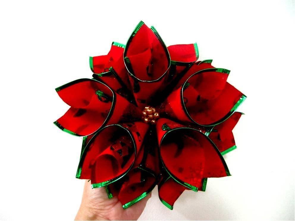 Mo os flores de navidad nochebuena en cintas ribbons - Cinta de navidad ...
