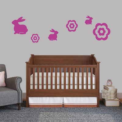 SweetumsWallDecals 6 Piece Bunnie and Flower Wall Decal Set Color: Hot Pink