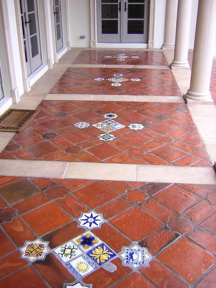 100 Handmade Terracotta Floor Tiles, Square & Picket