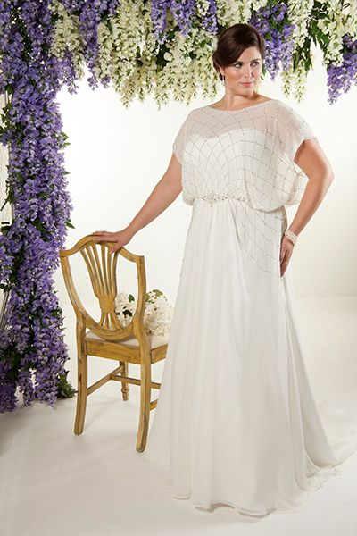 """""""A soft chiffon blouson sheath, such as this style by Callista, is perfect for the statuesque bride who is on-trend. This statement gown certainly won't be forgotten!"""""""