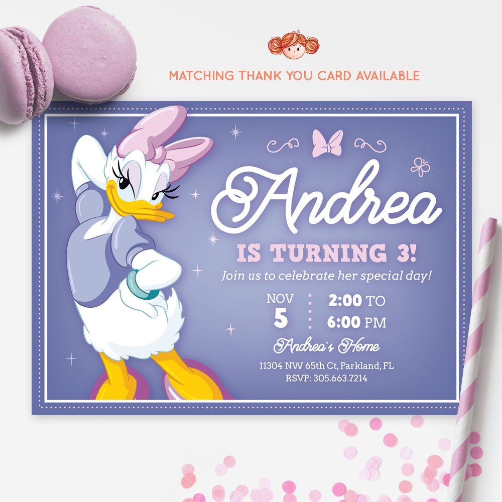 DAISY DUCK INVITATION, Daisy Ducks, Printable Kids Invitation ...