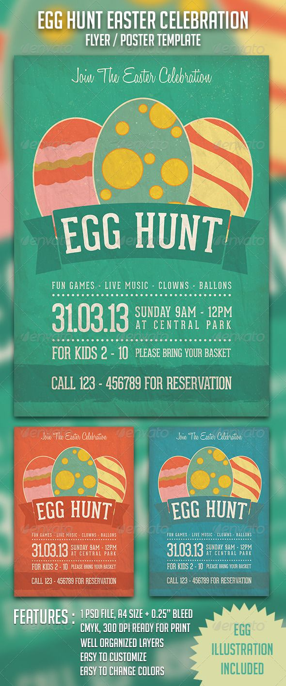 Egg Hunt Easter Celebration is a flyer/poster print template created
