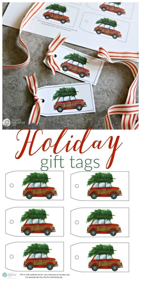 Holiday Gift Tags Free Printable Holiday Gift Tags | This red car with the Christmas tree gift tag will make gift wrapping easy! Find it on Today's Creative LifeFree Printable Holiday Gift Tags | This red car with the Christmas tree gift tag will make gift wrapping easy! Find it on Today's Creative Life