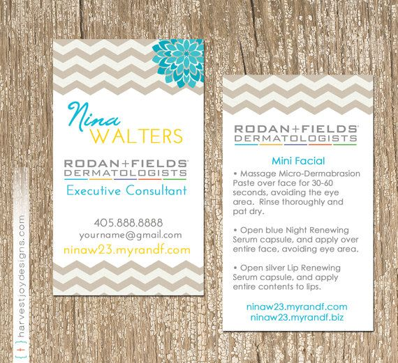 Chevron Bloom Rodan And Fields Business Card HarvestJoyDesignscom