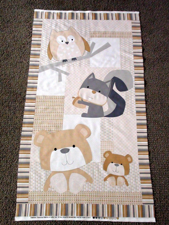 Baby Fabric Panel Woodland Animal Unisex Baby Cot Panel