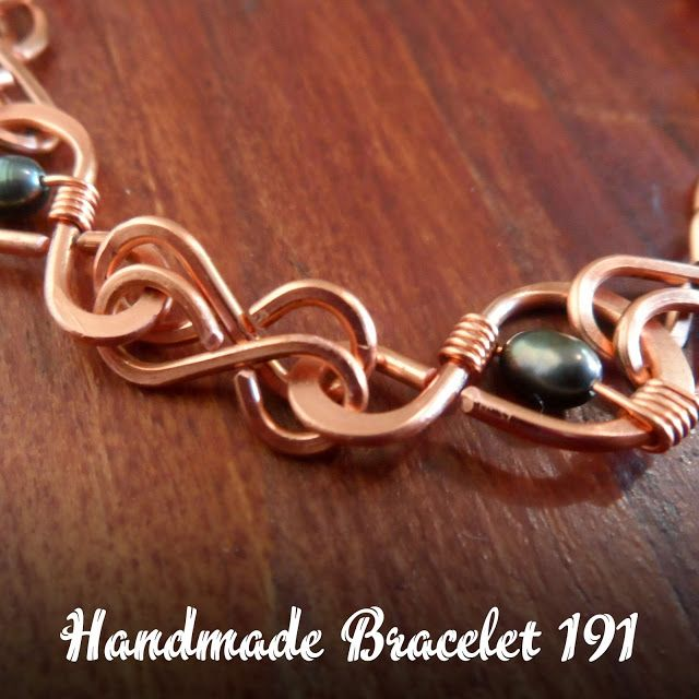 Hammered copper grey freshwater pearls wire wrapped bracelet 191 ...