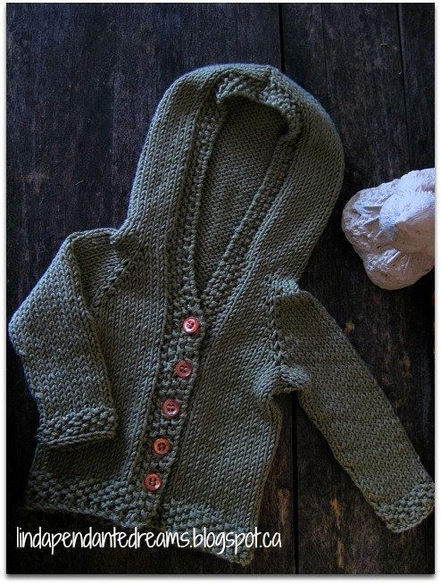 Newborn Baby Boy Or Girl Cotton Blend Hand Knit Moss Green Hooded ...