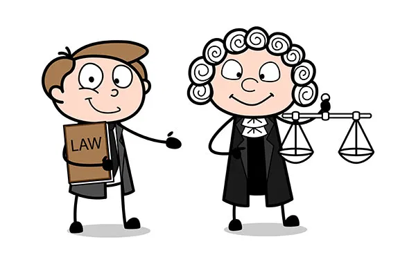 Cartoon Lawyer Presenting That A Judge Standing With A Scale