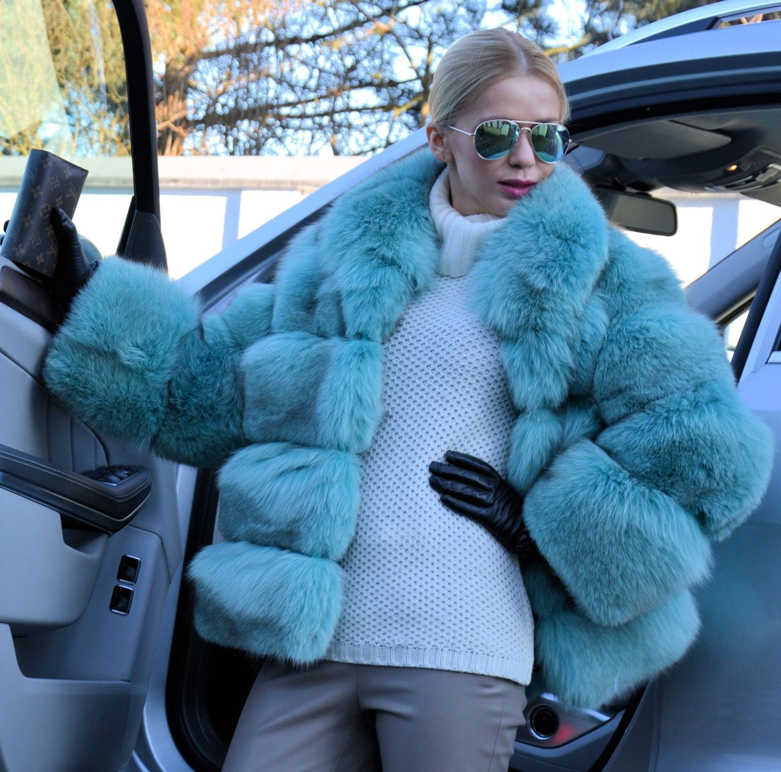 Green Mint Royal Saga Fox Fur Coat Jacket Like Sable Mink Lynx Silver Chinchilla | eBay